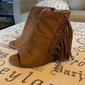 Coconuts by Matisse Shoes - Open-Toed Fringe Booties